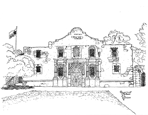 Pen and ink of The Alamo