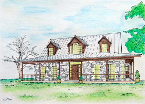 Pen and ink of Ranch House